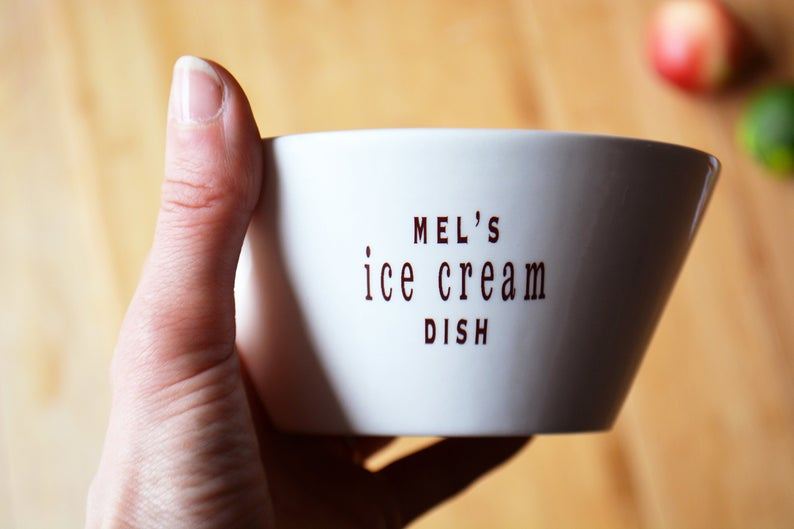 Personalized Ice Cream Dish Hallesophiagifts on Etsy