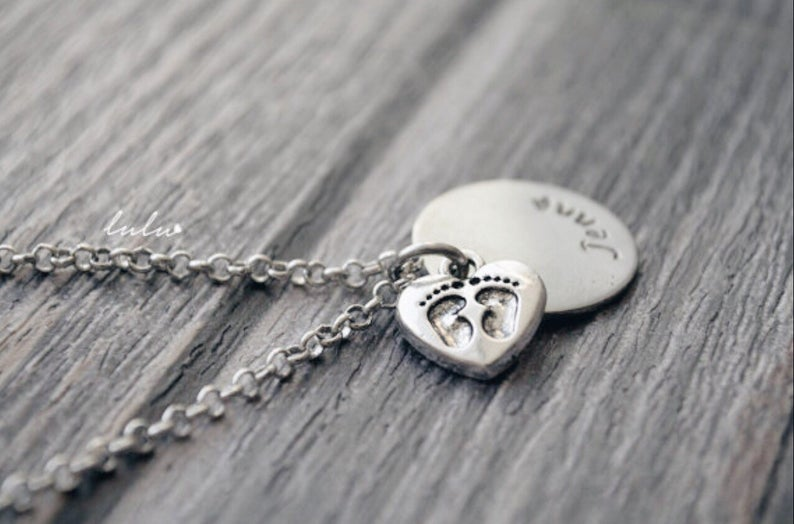 Personalized Newborn Name and Footprint on Heart Necklace LuluLifetimeDesigns on Etsy