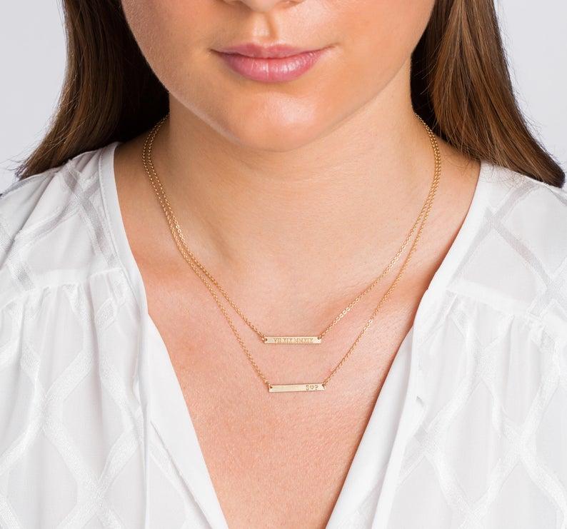 Skinny MINI Bar Necklace CustomBrites on Etsy