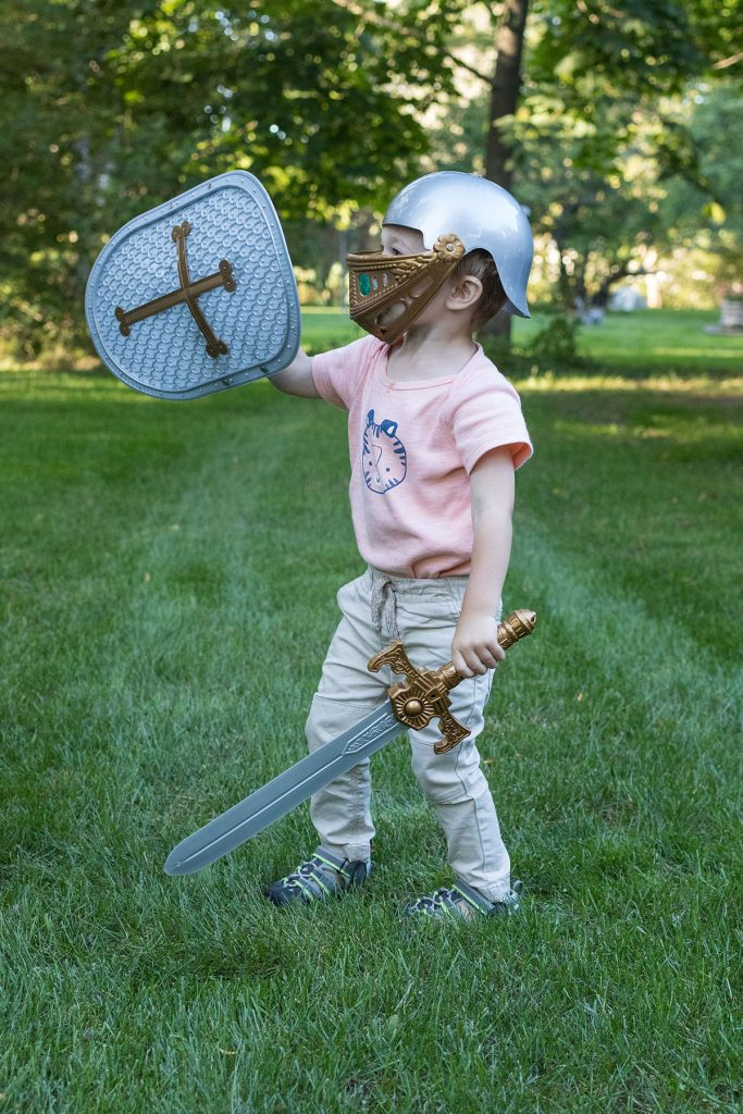 Toddler with Toy Armor