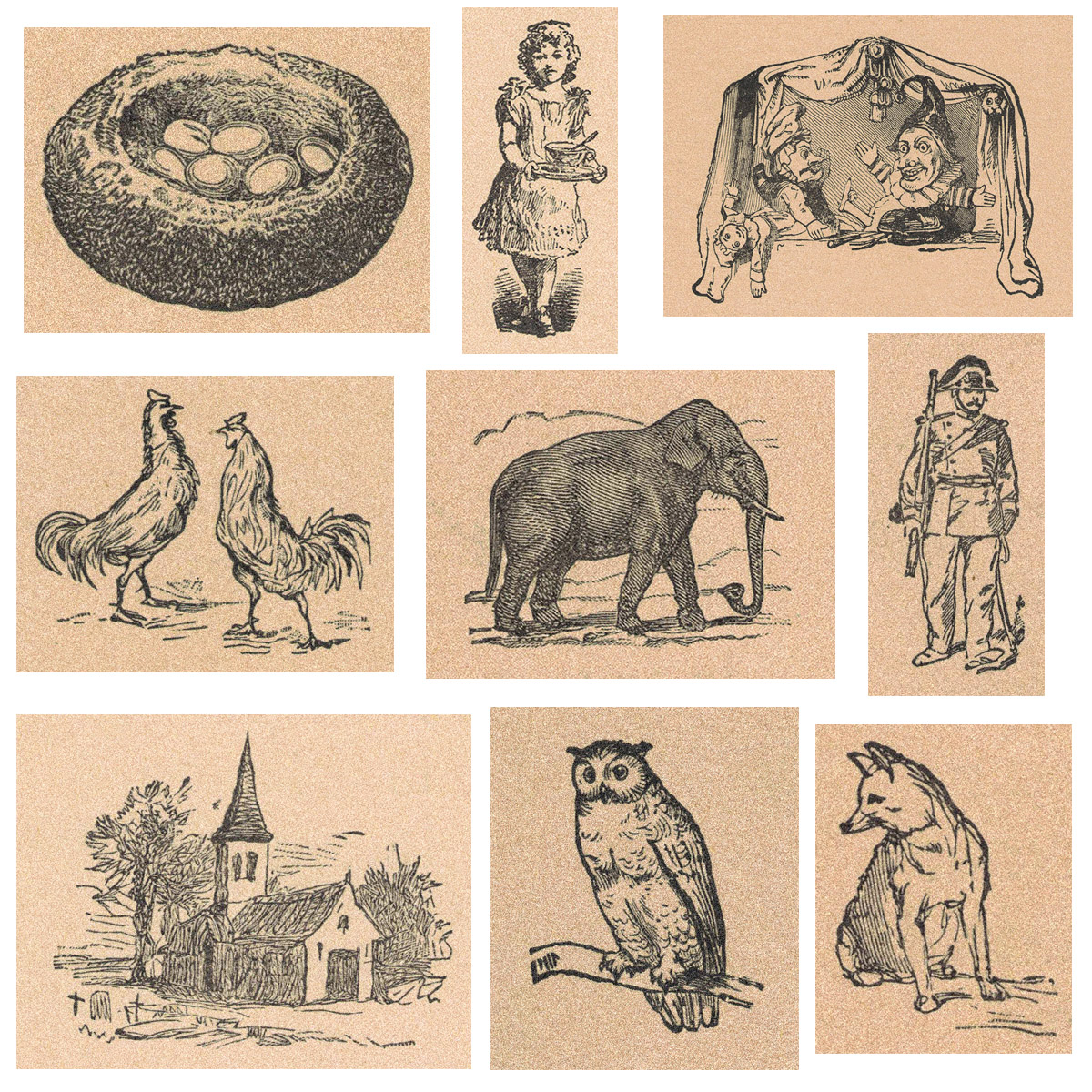 Vintage French Primer Illustrations