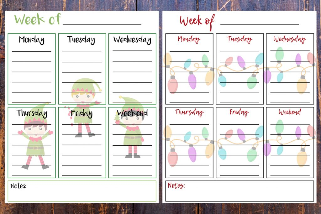 8 x 10 Free Printable Week Of Holiday To-Do Lists