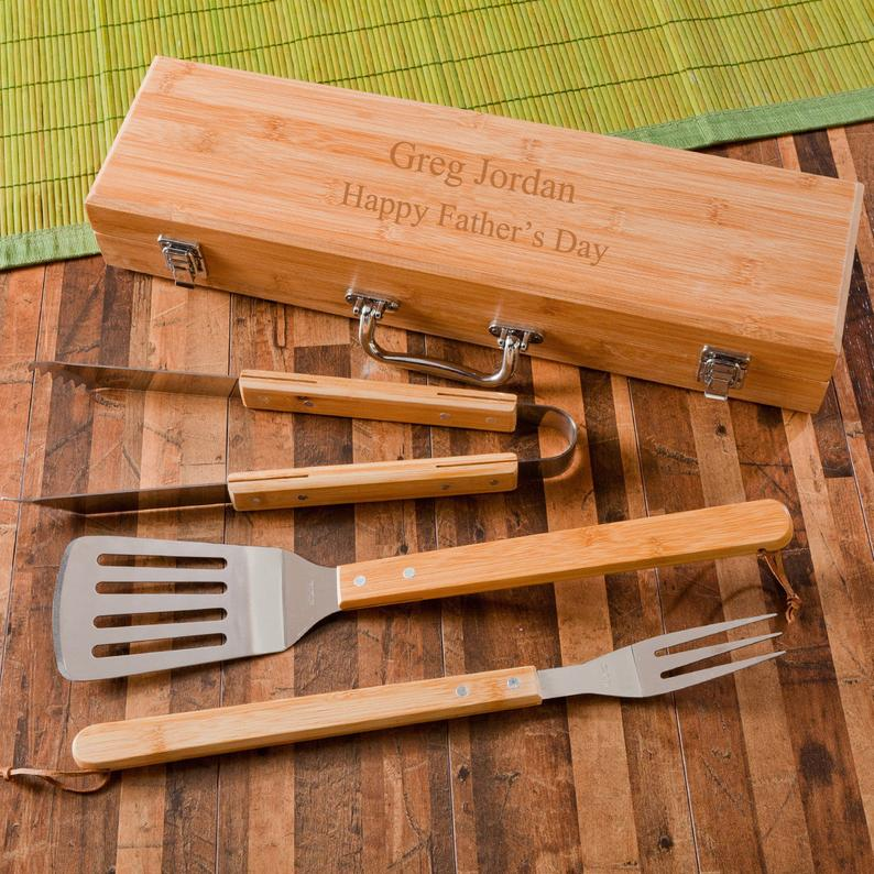 Barbecue Grilling Set With Bamboo Case RCPersonalizedGifts on Etsy