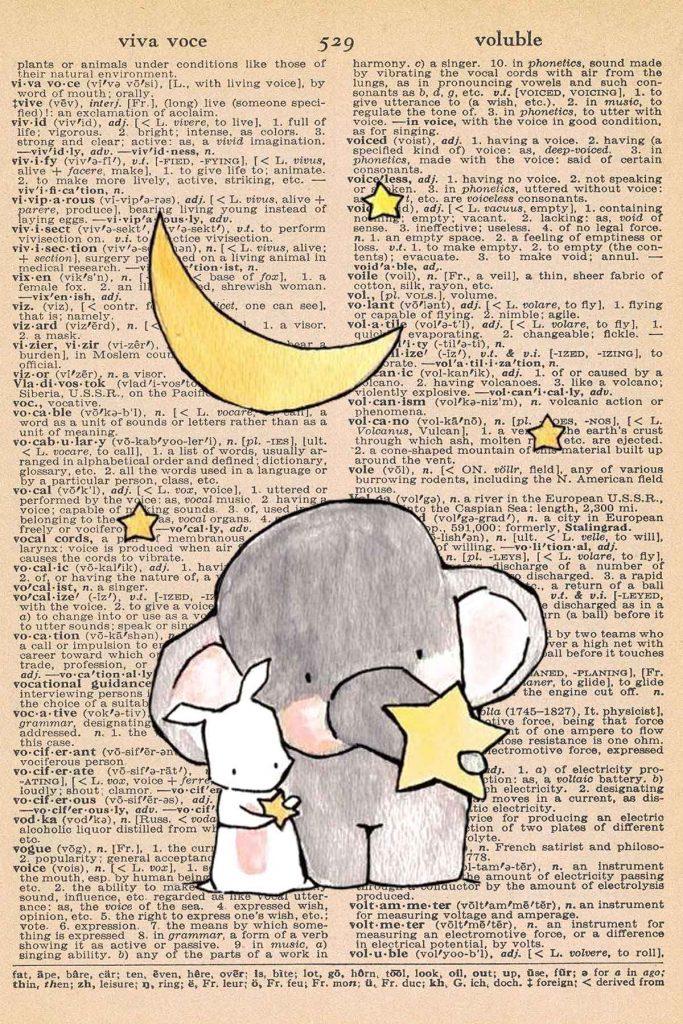 Elephant Nursery Decor Rabbit Holding Stars