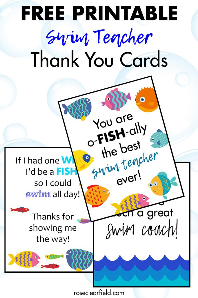 Free Printable Swim Teacher Thank You Cards