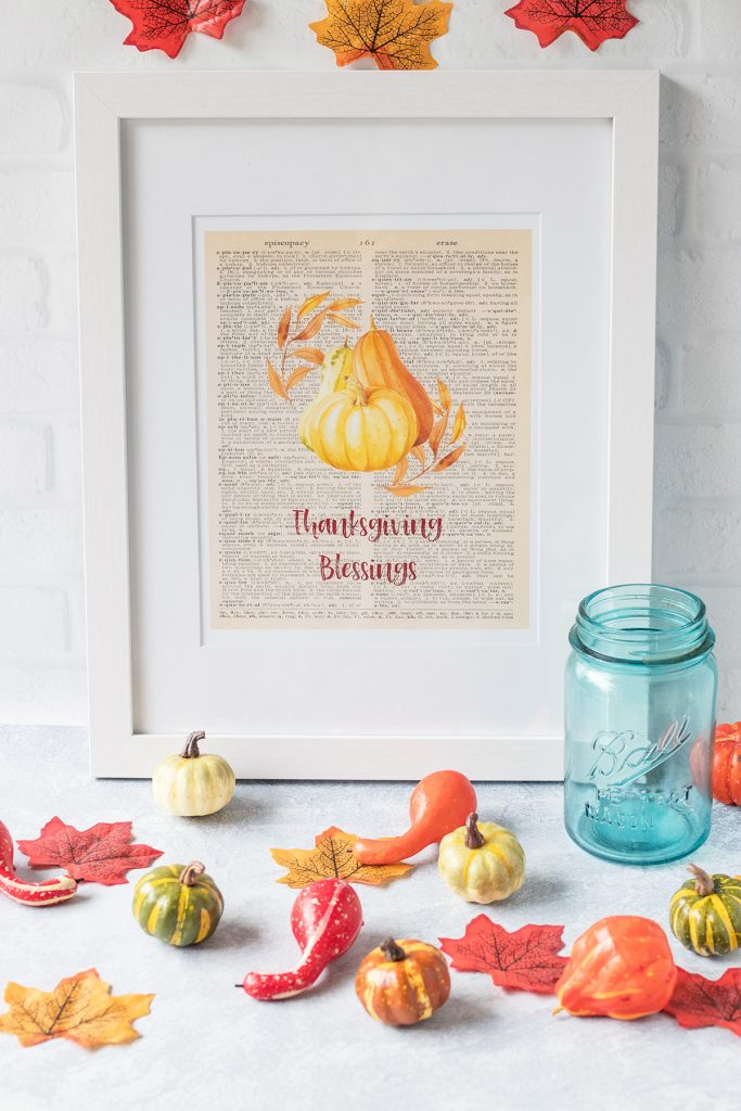Free Thanksgiving Dictionary Page Printable Framed Thanksgiving Blessings