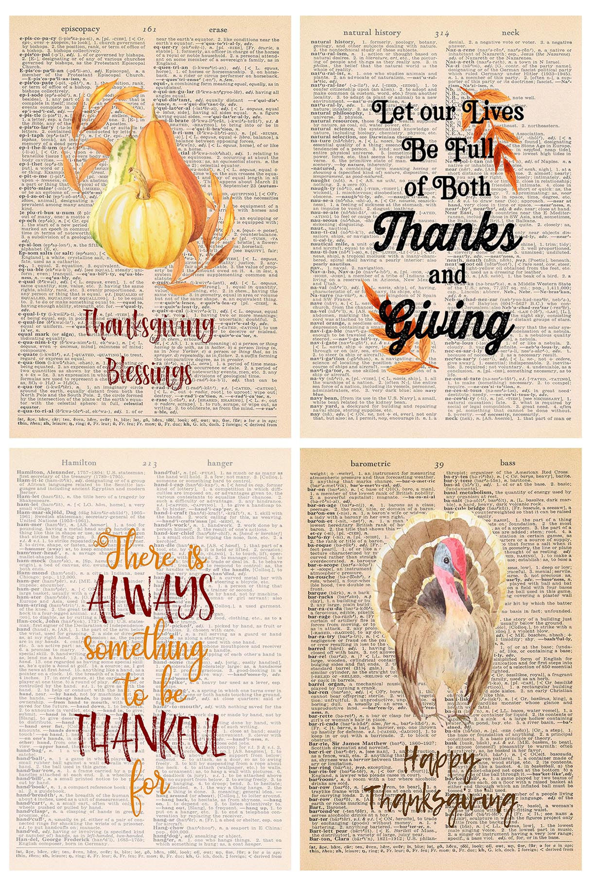 Free Thanksgiving Dictionary Page Printables
