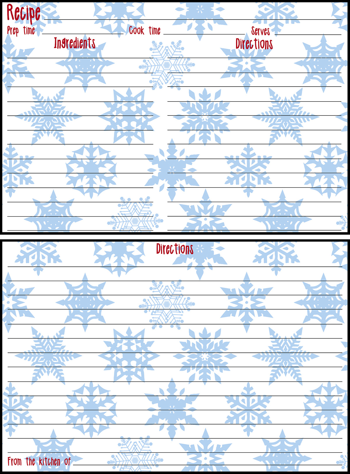 Holiday Recipe Card 4x6 Blue Snowflakes Preview