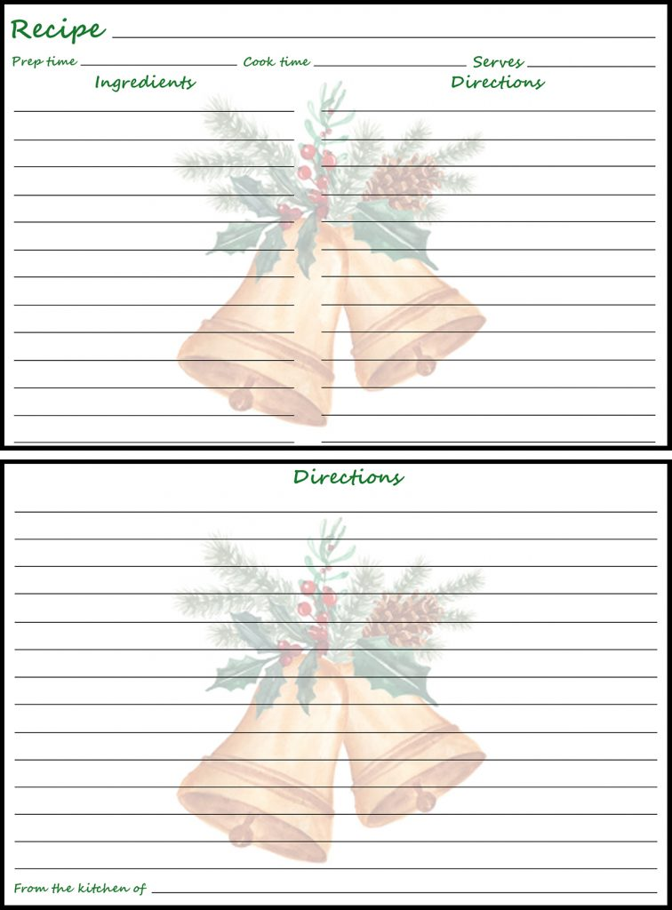 Holiday Recipe Card 4x6 Christmas Bells Preview