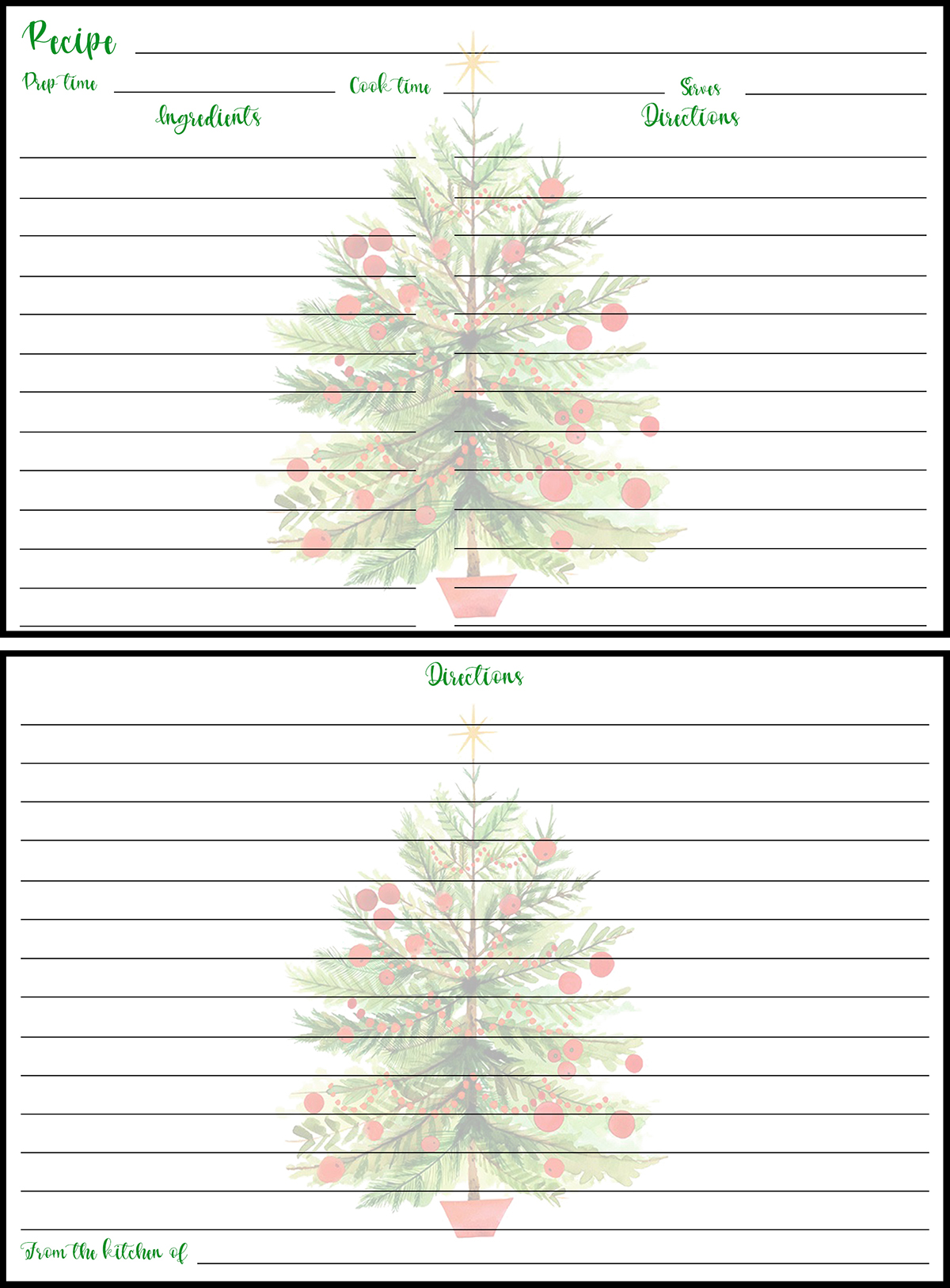 Holiday Recipe Card 4x6 Christmas Tree Preview