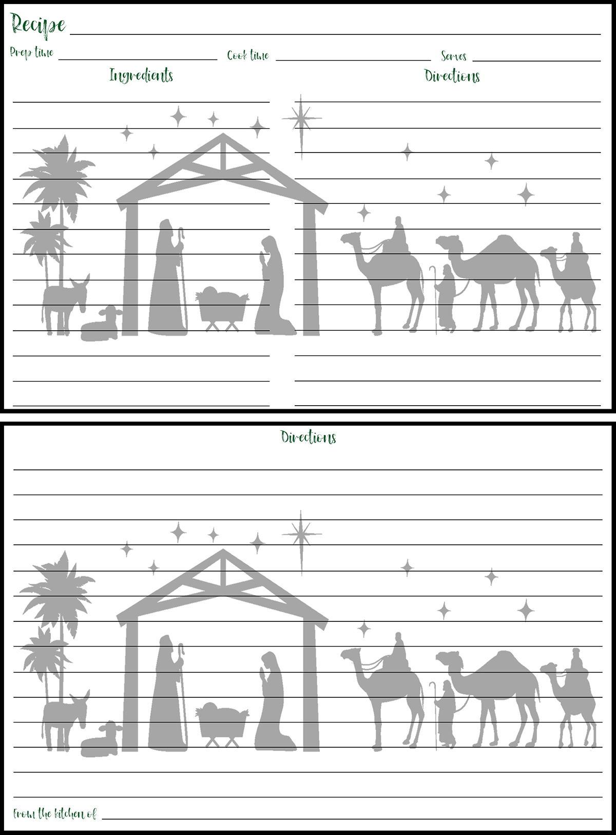 Holiday Recipe Card 4x6 Nativity Silhouette Preview