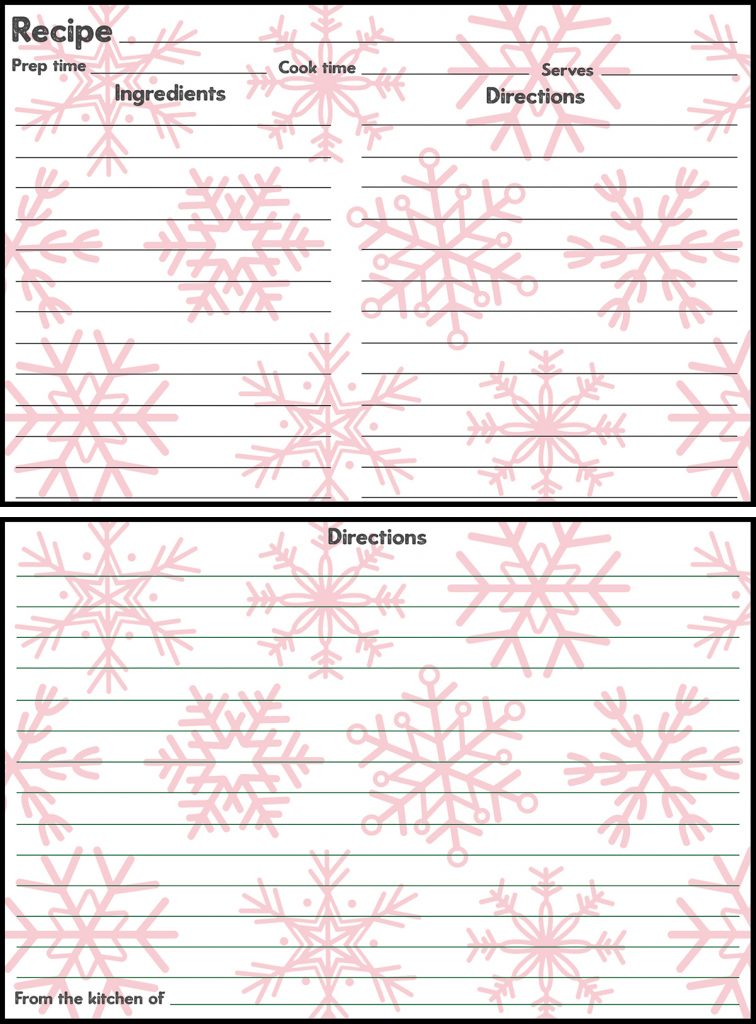 Holiday Recipe Card 4x6 Red Snowflakes Preview