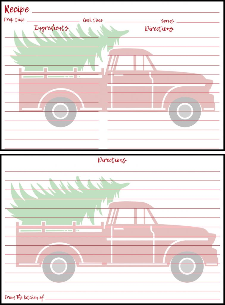 Holiday Recipe Card 4x6 Red Truck Preview