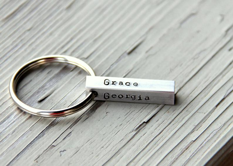 Metal Name Keychain for Dad whiteliliedesigns on Etsy
