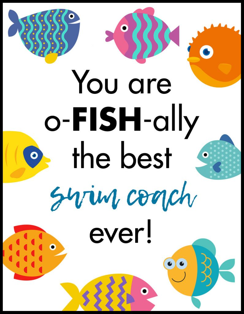 Ofishally Swim Coach A2 Card Flat With Border