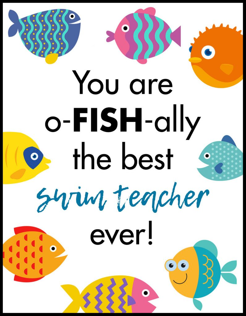 Ofishally Swim Teacher A2 Card Flat With Border A