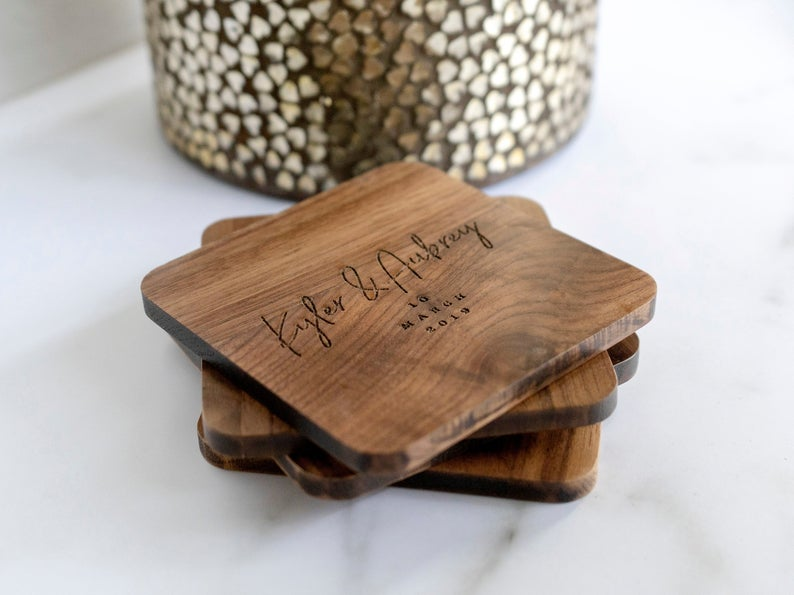 Personalized Wooden Coasters CopperFoxCompany on Etsy