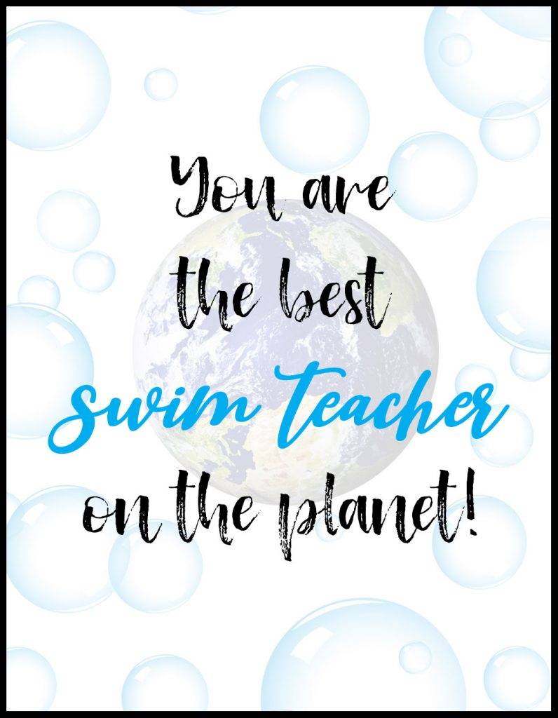 Planet Swim Teacher A2 Card Flat With Border