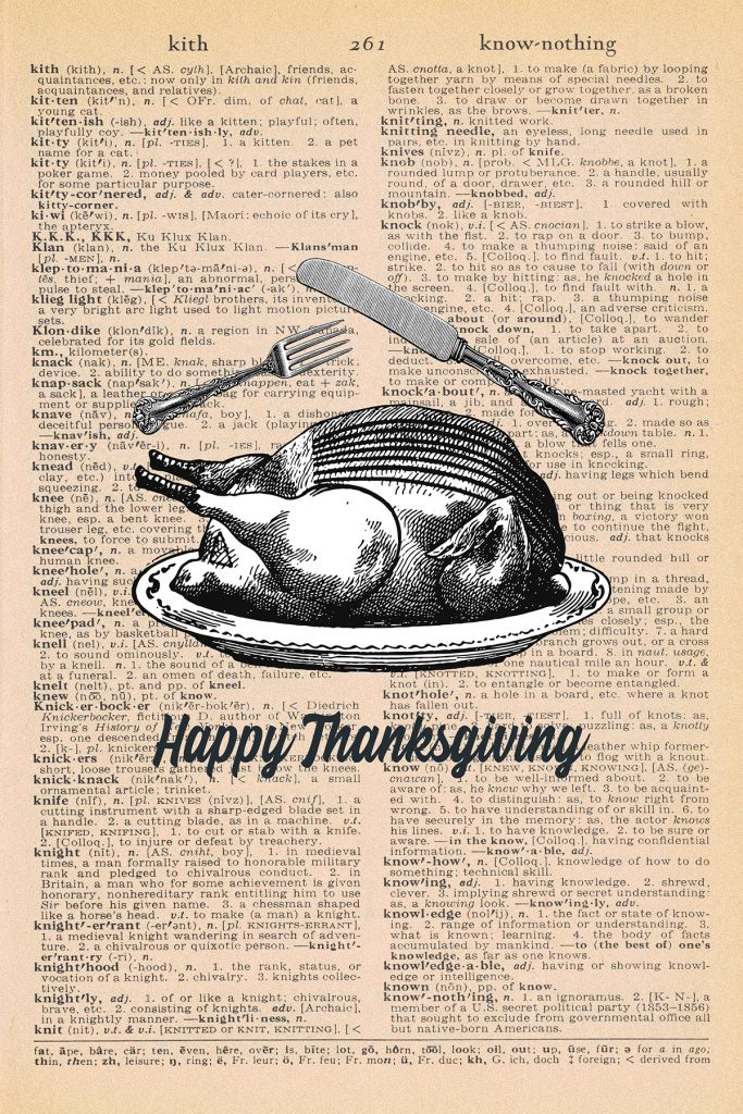 Printable Thanksgiving Dictionary Page Cooked Turkey