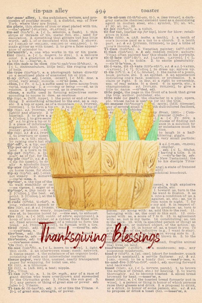 Printable Thanksgiving Dictionary Page Corn in Basket