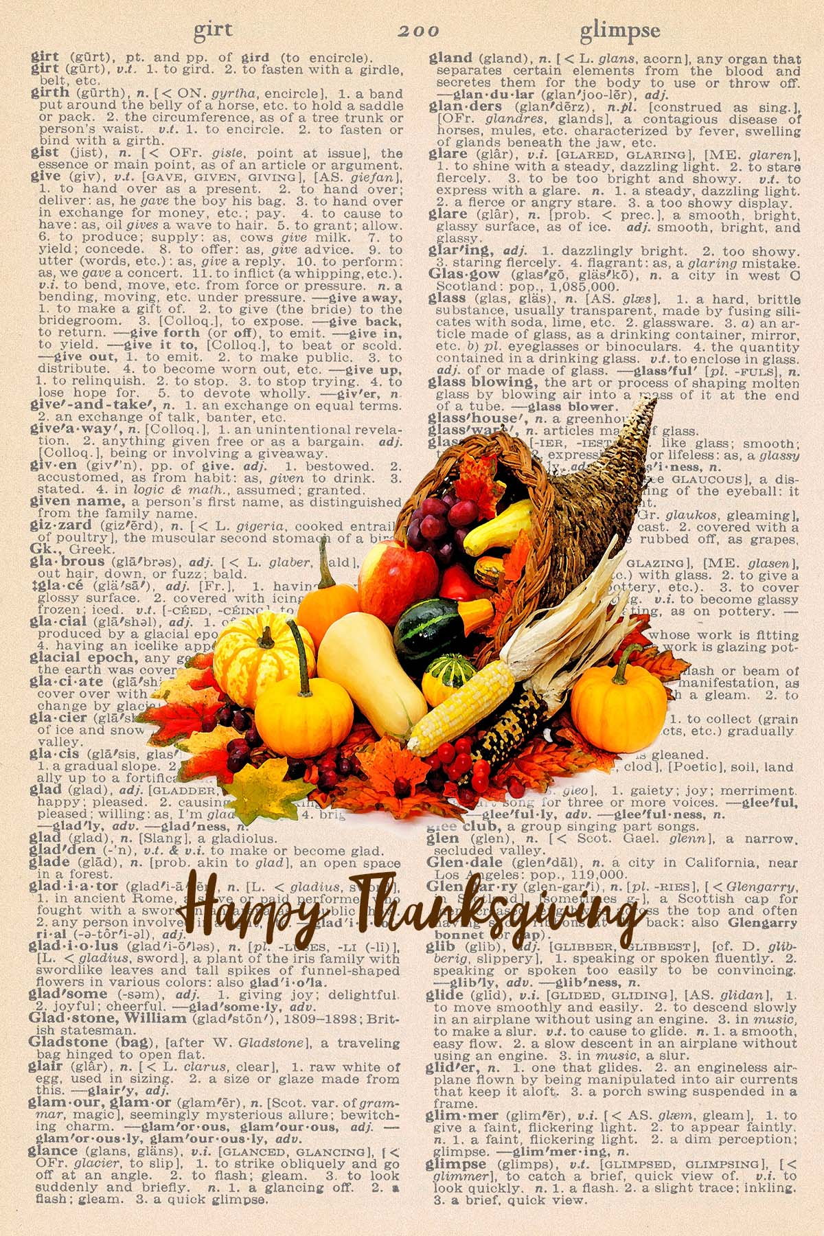 Printable Thanksgiving Dictionary Page Cornucopia
