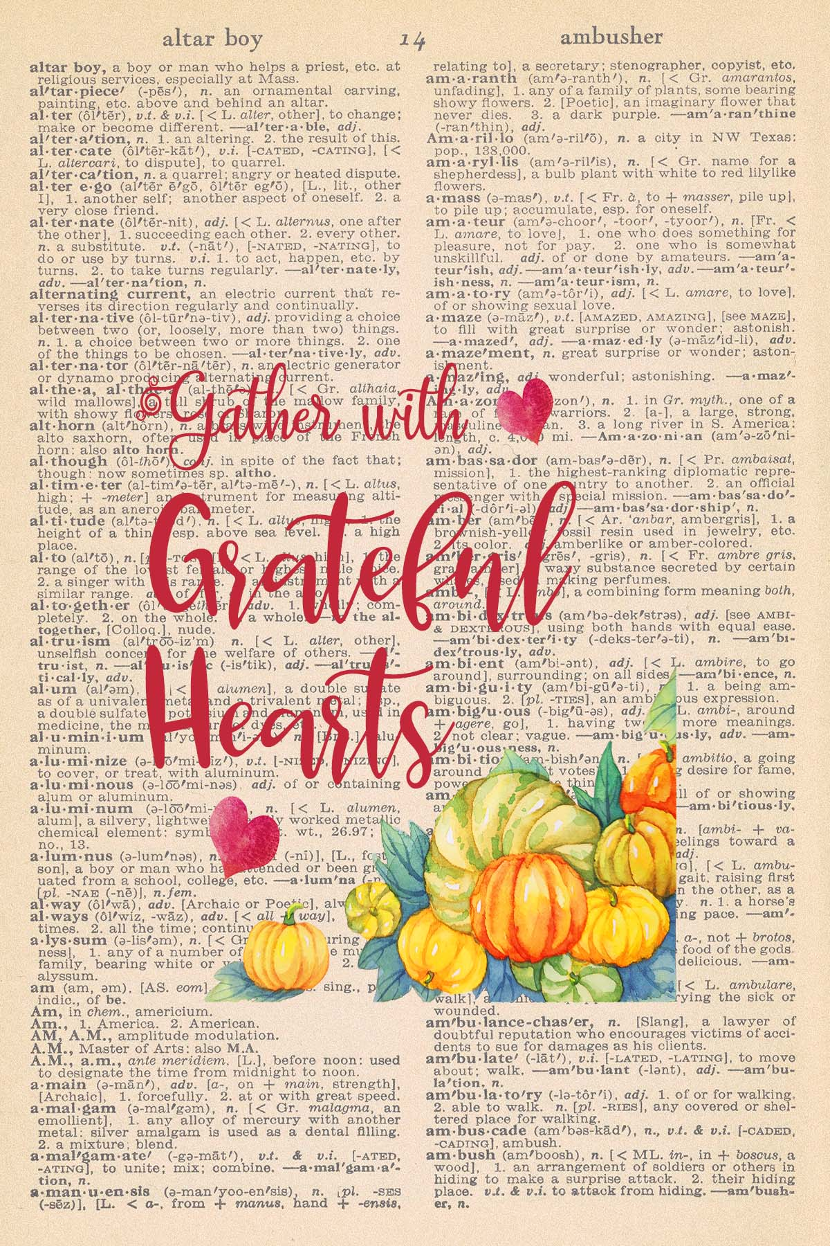 Printable Thanksgiving Dictionary Page Gather With Grateful Hearts