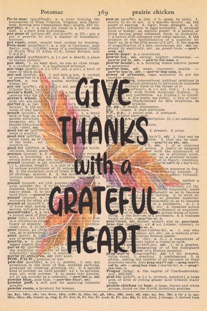 Printable Thanksgiving Dictionary Page Give Thanks with a Grateful Heart