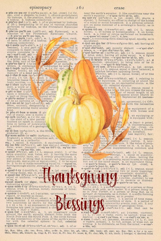 Printable Thanksgiving Dictionary Page Gourds