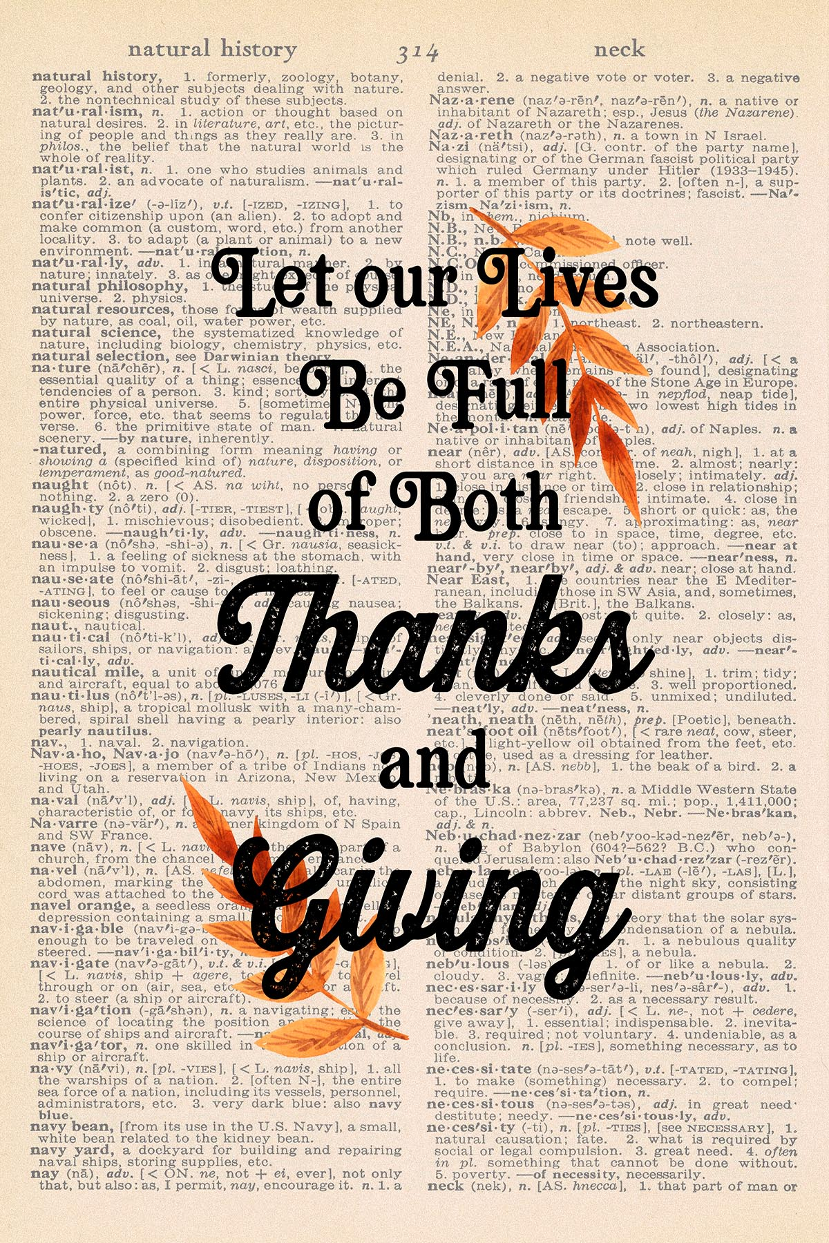 Printable Thanksgiving Dictionary Page Let Our Lives Be Full of Both Thanks and Giving