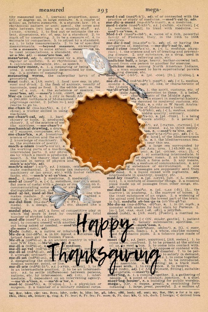 Printable Thanksgiving Dictionary Page Pie