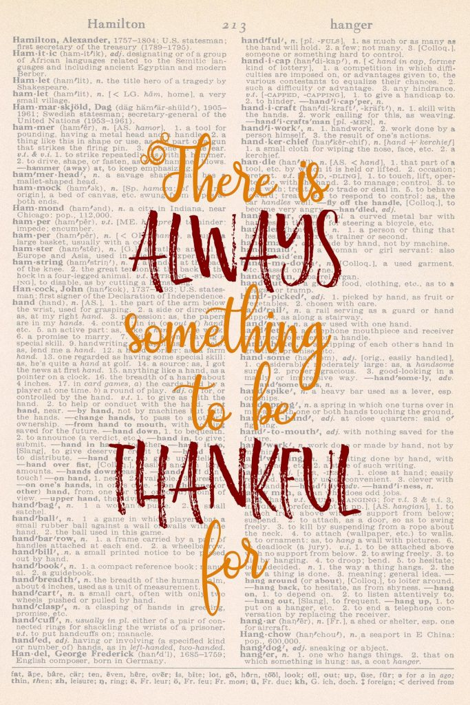 Printable Thanksgiving Dictionary Page There is Always Something to Be Thankful For