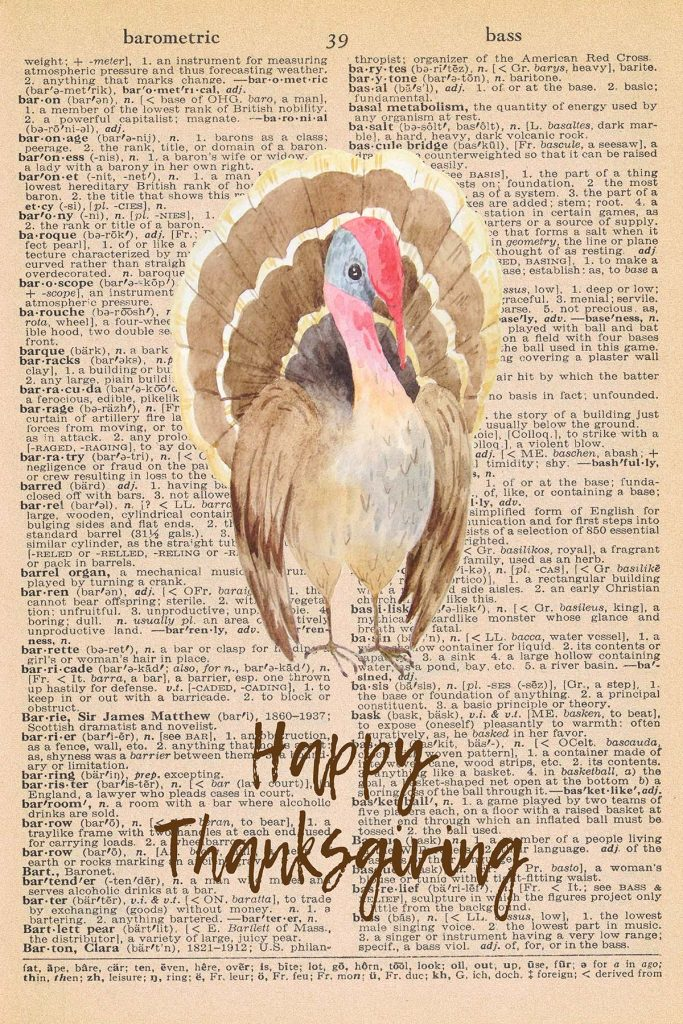 Printable Thanksgiving Dictionary Page Turkey