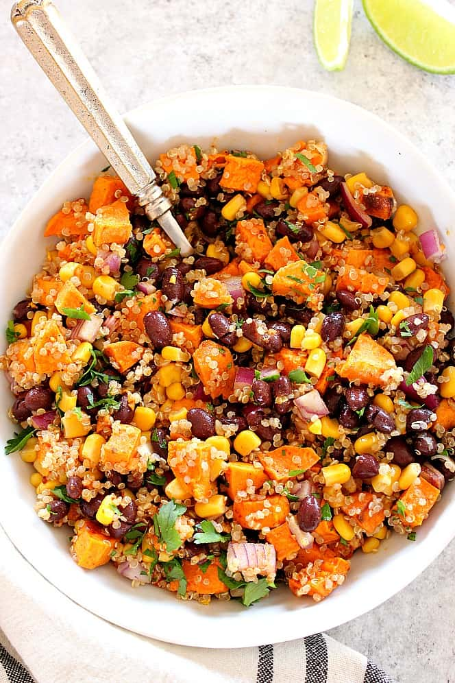 Roasted Sweet Potato Black Bean Quinoa Salad Recipe Crunchy Creamy Sweet
