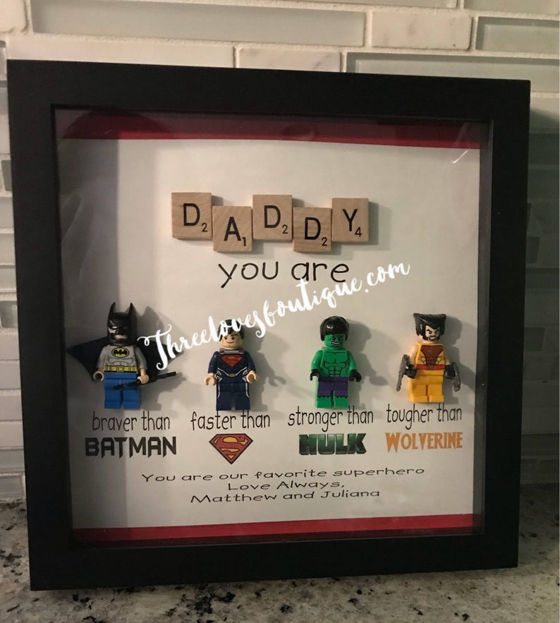 Superhero Dad Picture Frame Mythreelovesboutique on Etsy