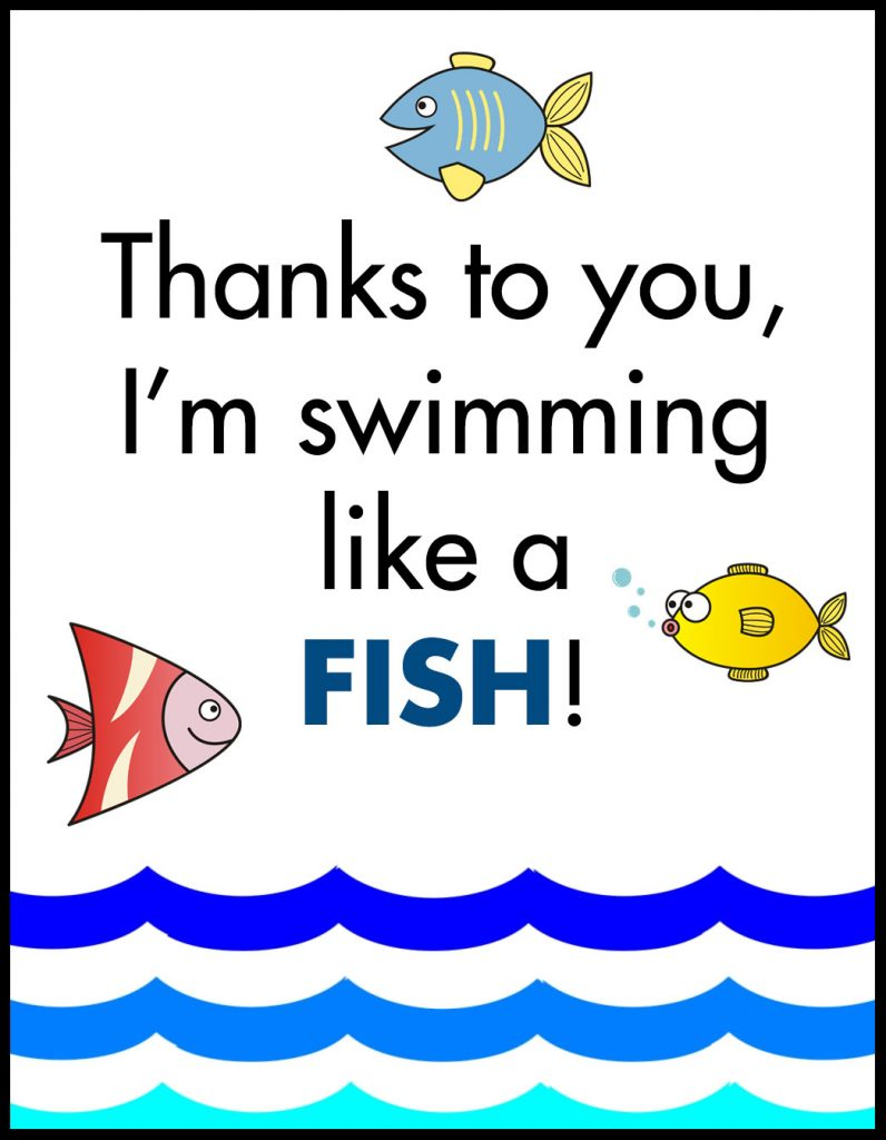 Swimming Like a Fish A2 Card Flat With Border