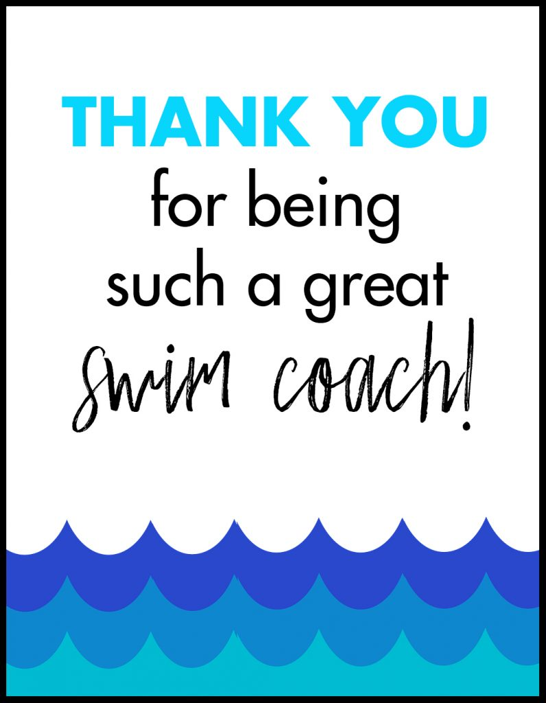 Thank You Swim Coach A2 Card Flat With Border