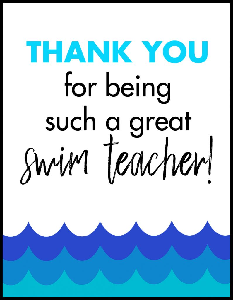 Thank You Swim Teacher A2 Card Flat With Border
