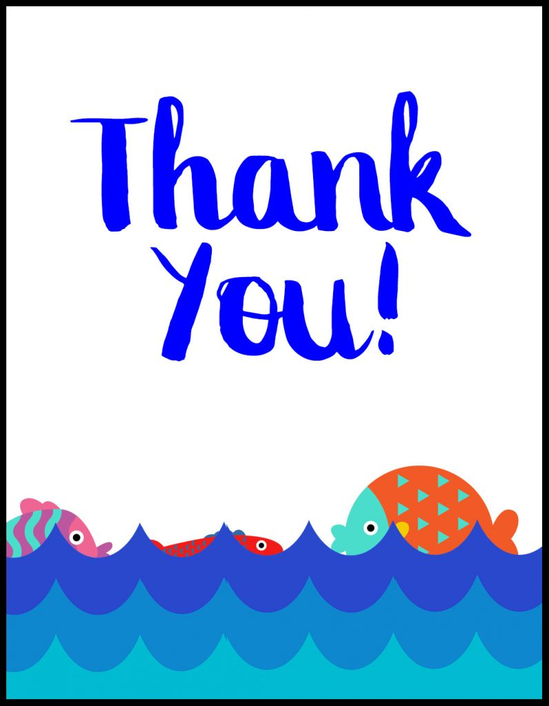 Thank You Swim Teacher Coach A2 Card Flat With Border