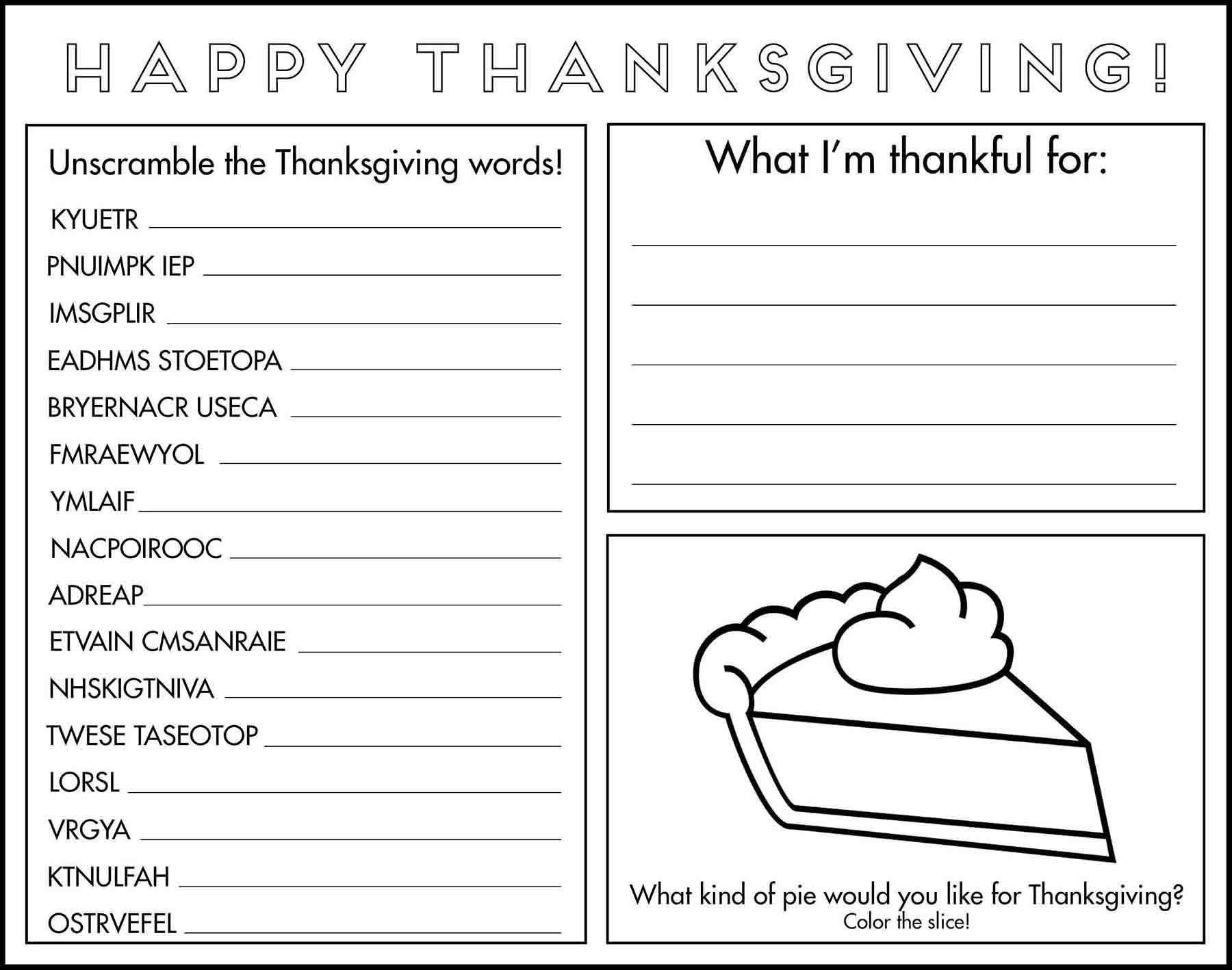 Thanksgiving Game Placemat