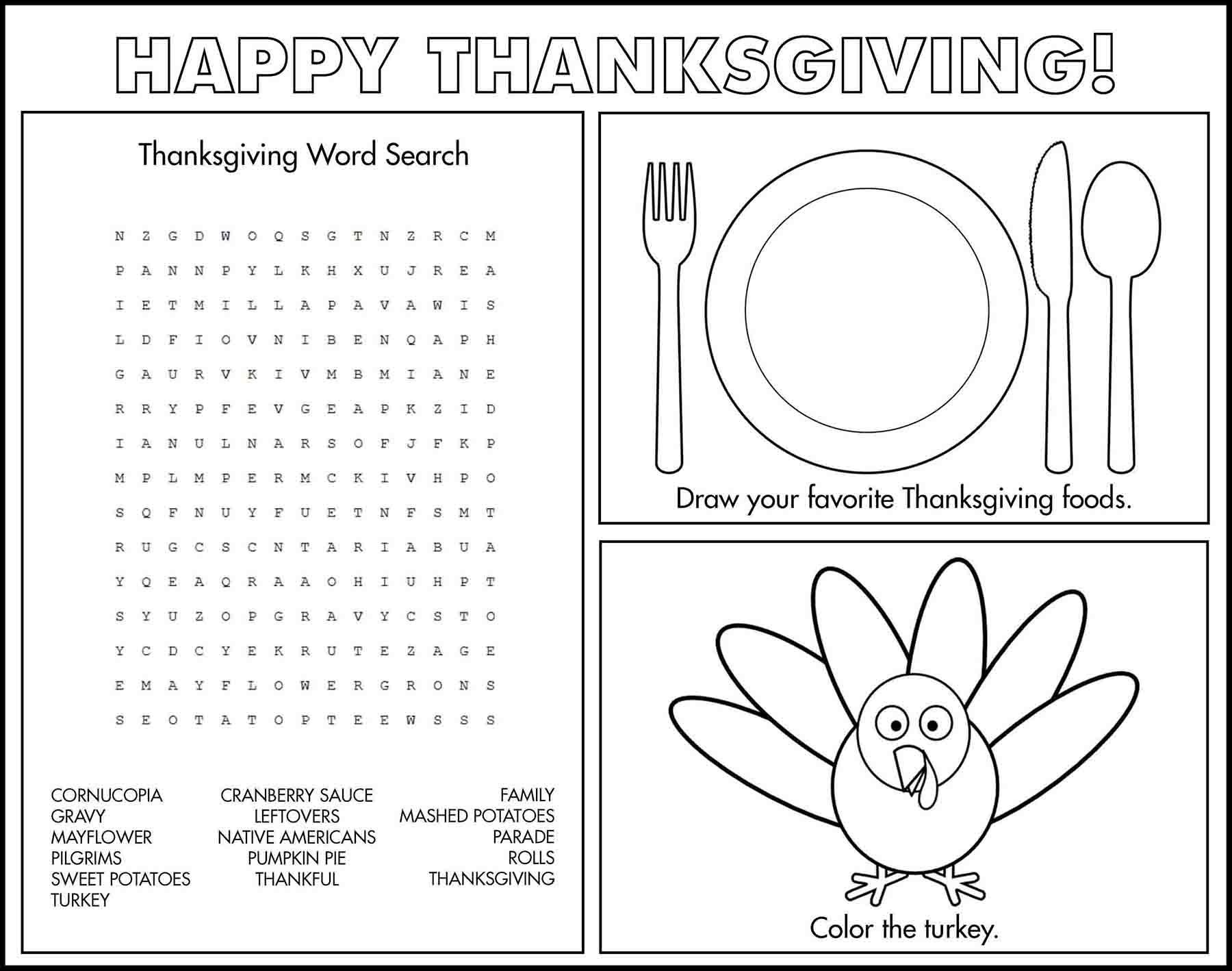 Thanksgiving Game Placemat II