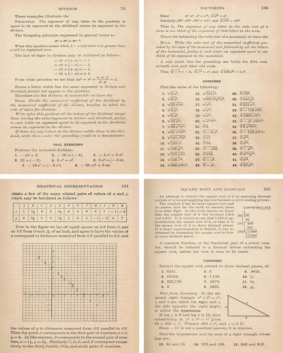 Vintage Algebra Textbook 8x10 Full Pages Collage