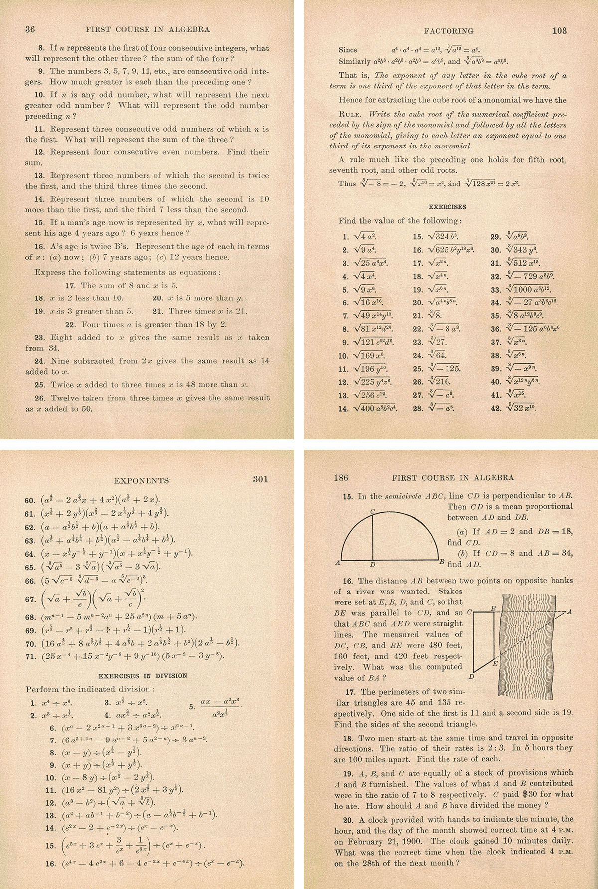 Vintage Algebra Textbook Full Pages Collage