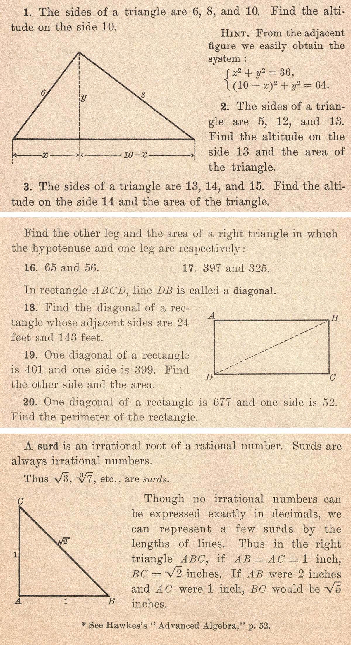 Vintage Algebra Textbook Geometric Problems Illustrations Collage