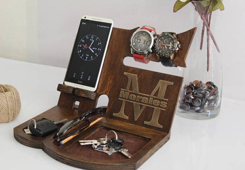 Wooden Docking Station Phone Stand WeddingPuzzleShop on Etsy