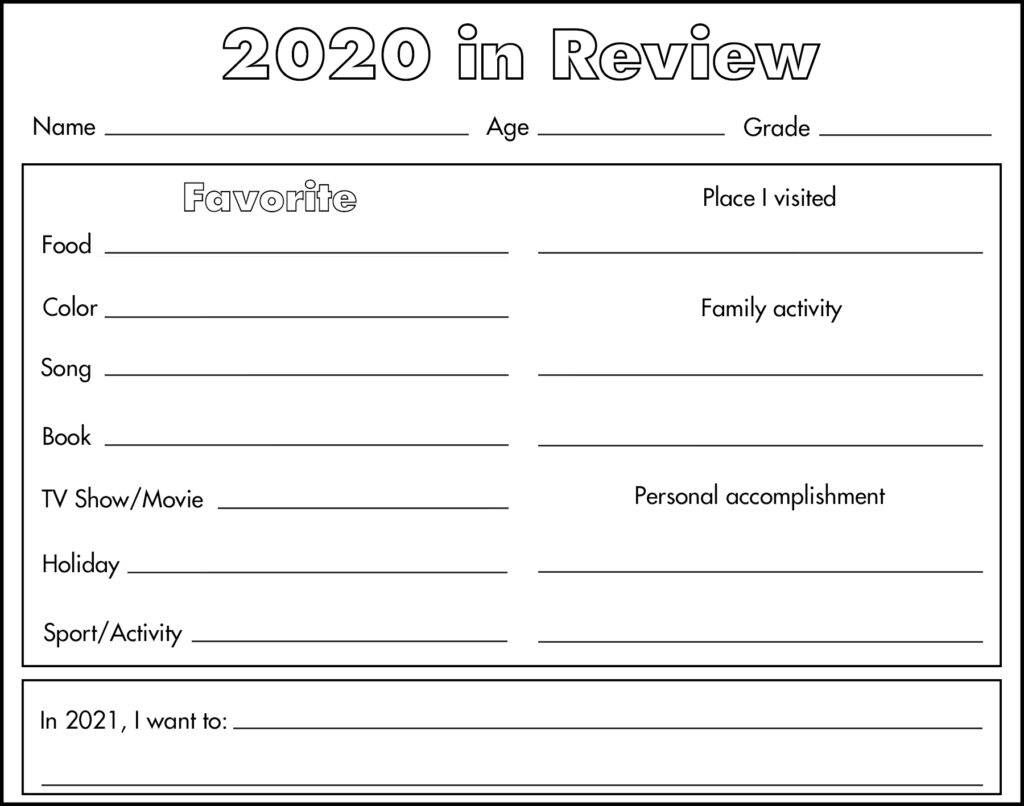 2020 in Review Free Printable Worksheet