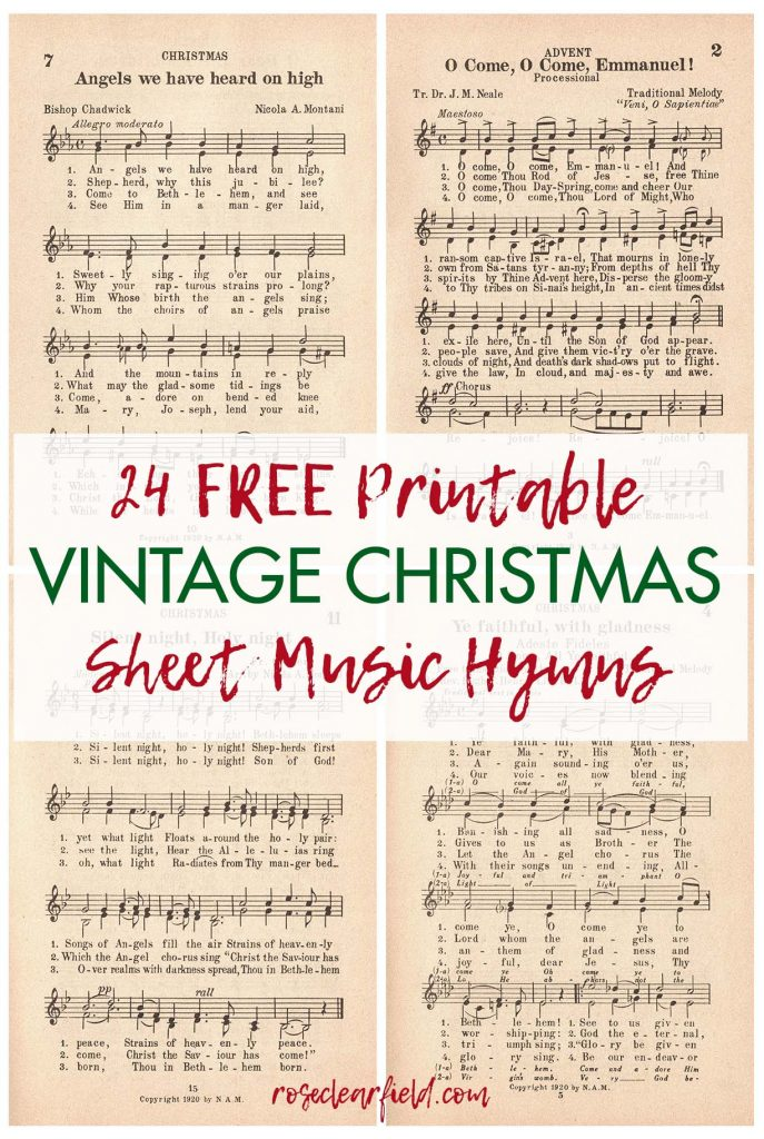 24 Printable Vintage Christmas Sheet Music Hymns