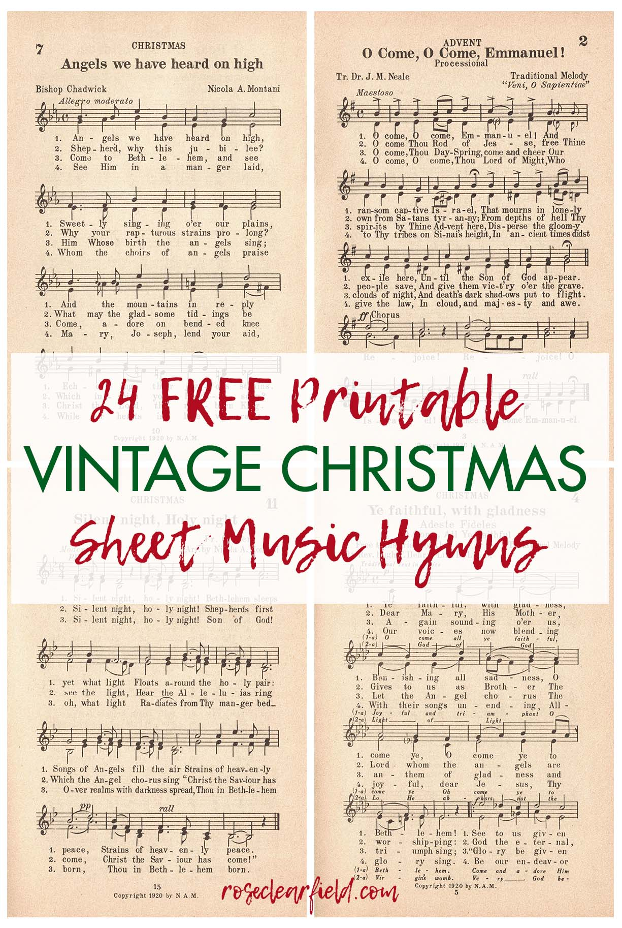24 Printable Vintage Christmas Sheet Music Hymns • Rose Clearfield