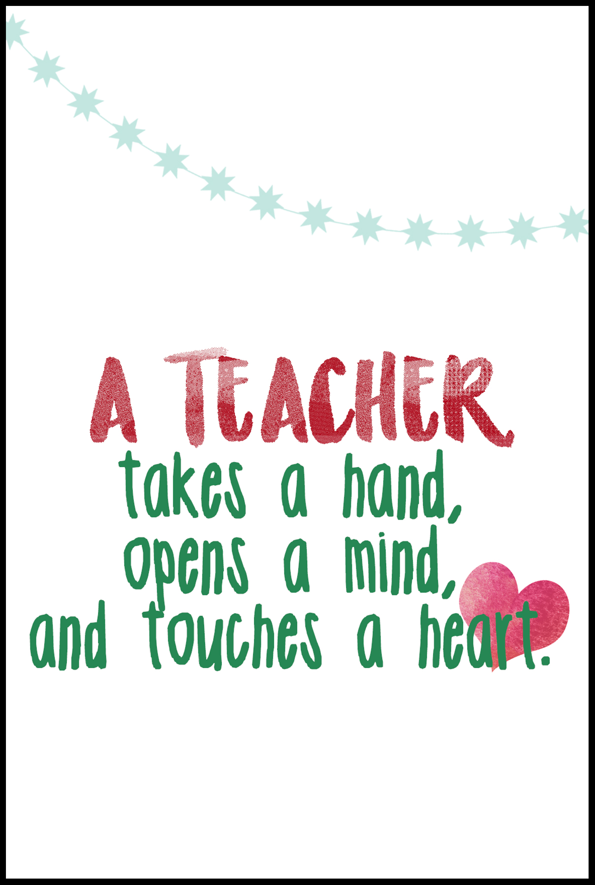 A Teacher Takes Hand Card