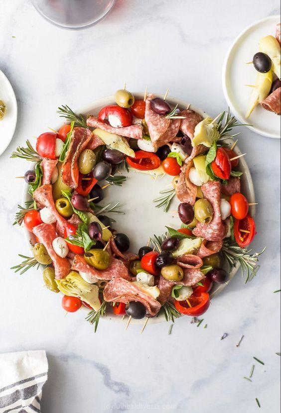 Christmas Wreath Antipasto Skewers Joyful Healthy Eats