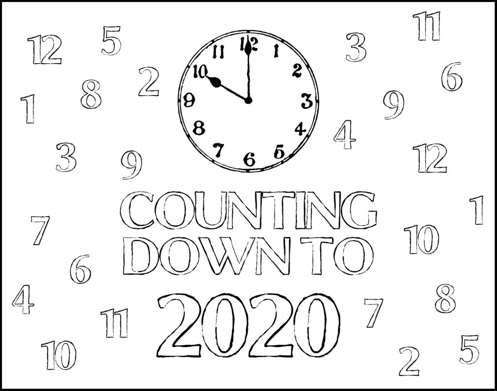 Counting Down to 2020 Printable New Year's Eve Placemat